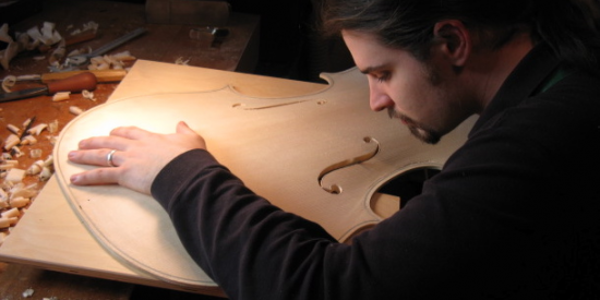 Michael Doran Carving a Cello